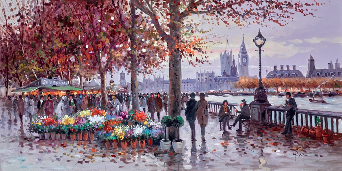 South Bank Flowers by henderson cisz -  sized 40x20 inches. Available from Whitewall Galleries